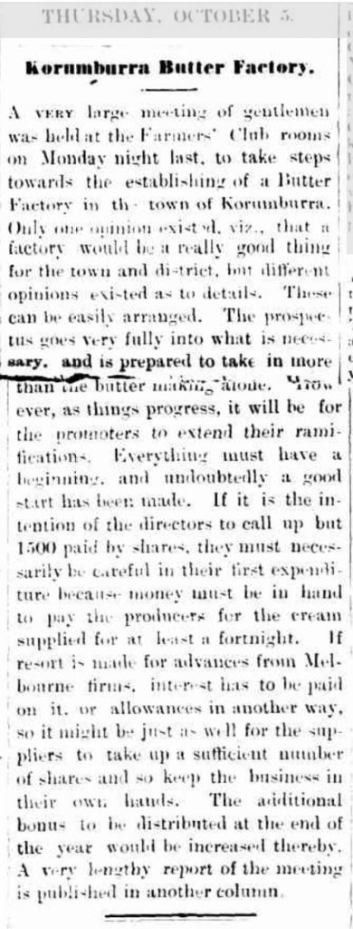 5 Oct 1899 butter factory discussion