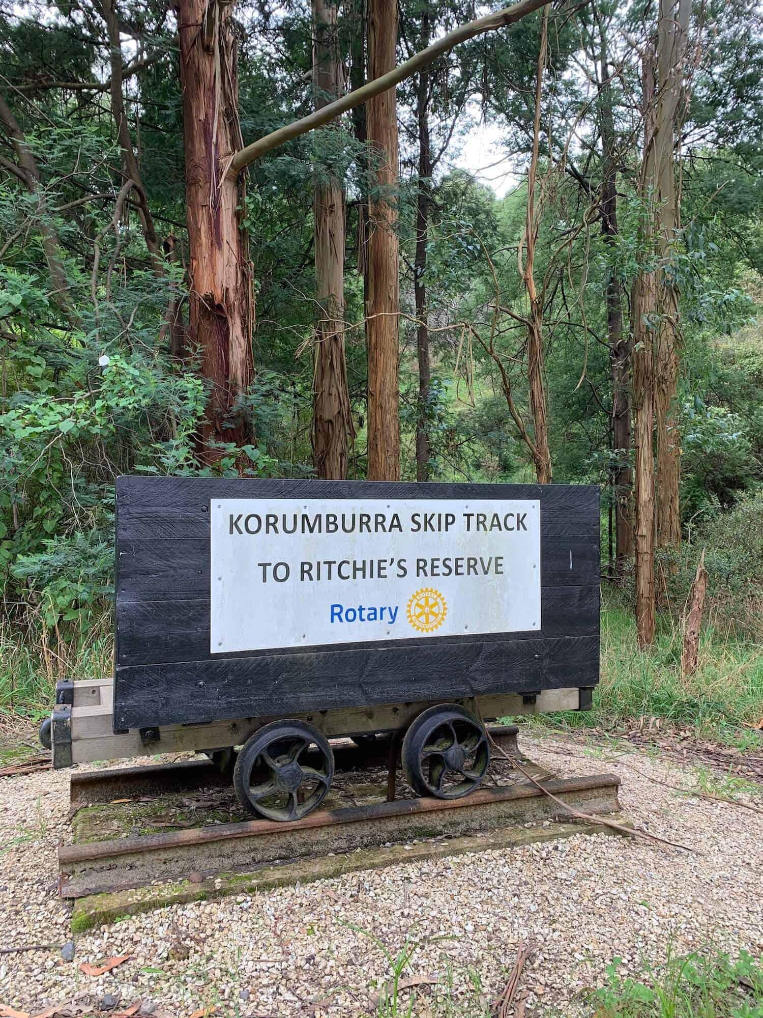 historic Korumburra Skip Track signage